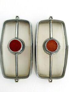 1962 Cadillac Pair 2 Tail Lights Chrome Bezels W plastic Reflectors Complete