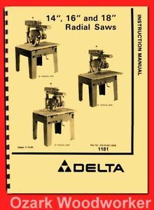 Delta 14 16 18 Radial Arm Saws Operator Instructions Parts Manual 1181