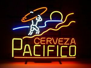 New Cerveza Pacifico Surfing Neon Light Sign 17 x14 Lamp Beer Bar Glass Decor