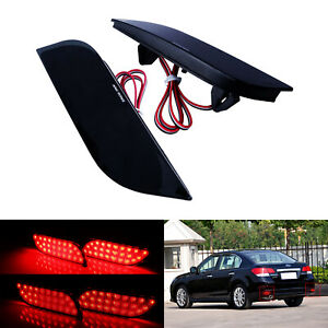 2 Red Led Bumper Reflector Rear Fog Stop Light Fit Subaru Impreza Wrx Sti Legacy