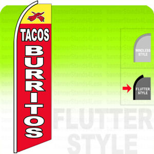 Tacos Burritos Swooper Flag Feather Banner Sign 11 5 Tall Flutter Style Rb