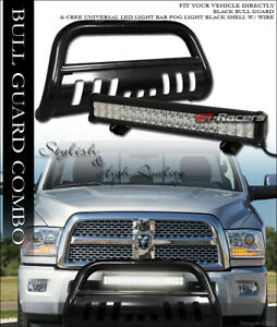 Black Hd Bull Bar Brush Guard 120w Cree Led Light For 10 18 Dodge Ram 2500 3500