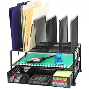 Mesh Desk Organizer With Sliding Drawer Double Tray And 5 Upright Sections Black