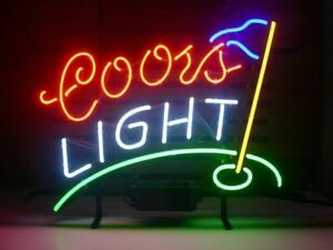 New Coors Light Golf Neon Sign 17 x14 Beer Bar Cave Gift Real Glass Handmade