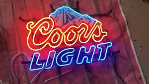 New Coors Light Mountain Neon Sign 17 x14 Lamp Poster Beer Bar Real Glass