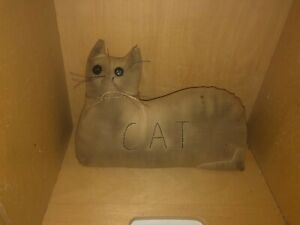 Primitive Grungy Cat Stitched Cat Cupboard Tuck Button Eyes