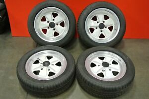 Porsche 911 Factory Fuchs Wheels Rims Set 16x8 16x6 W Center Caps White Set