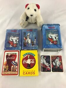 4 Packs Coca Cola Playing Cards Polar Bear Always Coke Disc Icon 1990's