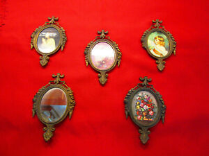 7 Vintage Ornate Mini Metal Or Brass Photo Frames And Mirror Made In Italy