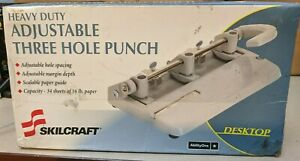 Skilcraft Adjustable Heavy duty 3 hole Punch Nsn4316251