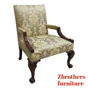 Oversized Hickory Chair Co Chippendale Ball Claw Living Room Arm Lounge Chair B