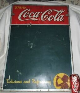 ANTIQUE 1941 USA COCA COLA LADY BOTTLE MENU FOOD BOARD TIN SIGN NOT PORCELAIN US
