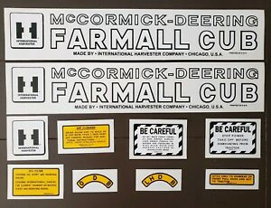 Ih Mccormick Deering Farmall Cub Complete Decal Set For Tractor