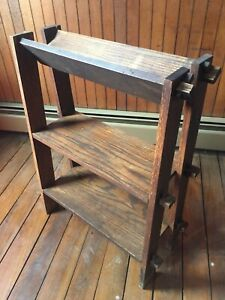 Antique Arts Crafts Bookshelf Mission Dark Oak Heavy 33 H X 24 W X 12 D 1