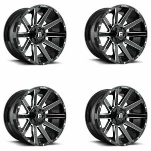 Set 4 22 Fuel D615 Contra 22x10 Black Milled 6x135 6x5 5 19mm Truck Wheels