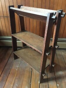 Antique Arts Crafts Bookshelf Mission Dark Oak Heavy 33 H X 24 W X 12 D 2