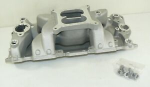 Chevy Small Block Sbc Satin Aluminum Dual Plane Air Gap Intake 69 74 Nova Ss