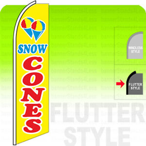 Snow Cones Swooper Flag Feather Banner Sign 11 5 Tall Flutter Style Yb