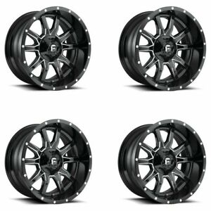 Set 4 20 Fuel D627 Vandal 20x10 Black Milled 8x180 Wheels 18mm Truck Rims