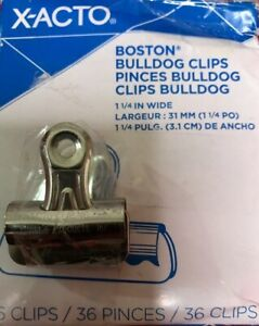 X acto Bulldog Clips Stell 1 1 4 Inch 3 1cm Capacity Nickel plated 36 Clips