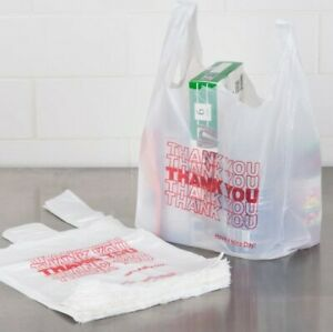 Thank You To Go Bags 11 1 2 X 21 X 6 White Plastic Shopping T shirt Bags 1 6