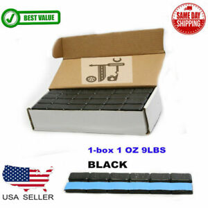 1 BOX 1 OZ BLACK WHEEL WEIGHTS STICK ON ADHESIVE TAPE 9 LBS LEAD FREE 144 PIECES $24.99
