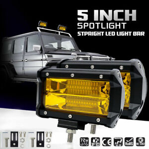 2x 5 72w Car Led Work Light Bar Spot Beam Fog Driving Offroad Suv Amber Lamp Us