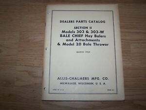 Allis Chalmers Manual Parts Catalog Bale Chief Hay Balers Bale Thrower 1965