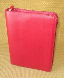 Classic 1 5 Rings Red Sim Leather Reptile Franklin Covey Zip Planner binder