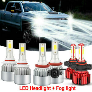 6x Led Headlight Fog Light Bulbs For Chevy Silverado 1500 2500 2007 2015 6000k