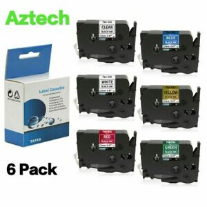 6pk Label Tape Compatible For Brother Tze 231 Tz431 Tze631 P touch 6 Color 12mm