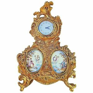 Antique French Hand Painted Brass Ornate Clock Scenic Enamel Putti