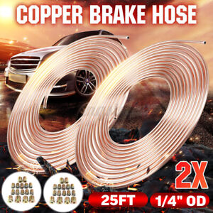 2x Copper Brake Line Tubing Kit 1 4 Od 25 Ft Coil Roll Universal Fit W 32 Nuts