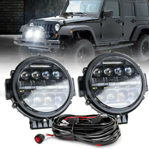2x 7 inch 120w Round Off Road Drl Led Work Lights Bumper Truck Boat 4wd Wires