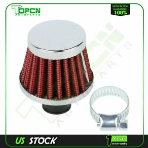 12mm Cold Air Intake Filter Turbo Vent Crankcase Breather Valve Cover Red Chrome