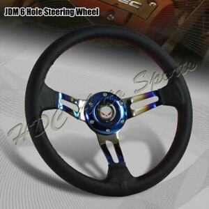 350mm Titanium Blue Red Stitched Black Leather 3 Spoke Racing Steering Wheel