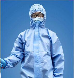Protection Disposable Suits With Hood Blue Color Xxl