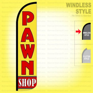 Pawn Shop Windless Swooper Flag 2 5x11 5 Ft Tall Feather Banner Sign Yz
