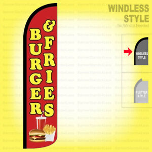 Burger Fries Windless Swooper Flag 11 5 Ft Feather Banner Sign Rz