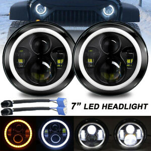 7 Inch Round Led Headlights Halo Angle Eyes For Jeep Wrangler Jk Cj Tj Lj Pair