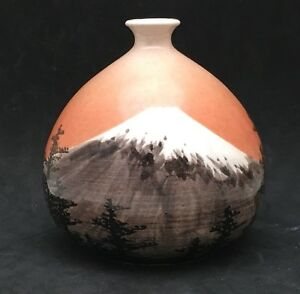 Unusual Japanese Meiji Satsuma Vase W Mt Fuji Signed