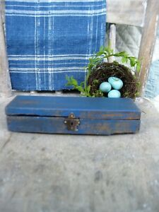 Early Antique Wood Pencil Box Cupboard Blue Milk Paint Free Shipping