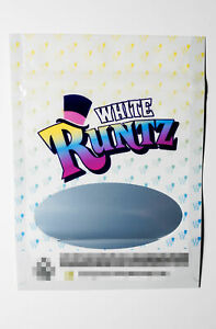 White Runtz Resealable Smell Proof Zip Lock Mylar 3 5g Bags