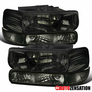 For 1999 2002 Chevy Silverado 2000 2006 Tahoe Smoke Headlights bumper Lamps Pair