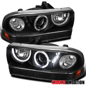 For 1998 2004 Chevy S10 Blazer Black Led Halo Projector Headlights Bumper Lamps