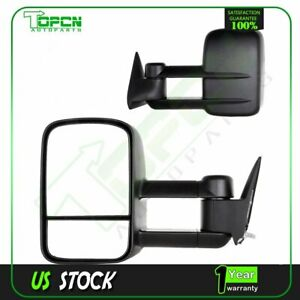 Towing Mirrors Manual Pair For 88 98 Chevy Gmc C K 1500 2500 3500 Side Mirror