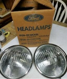 1928 1929 Ford Script Model A Duolite Chrome Headlights Pair Nors