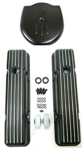58 86 Chevy Black Aluminum Short Finned Valve Covers Cadillac Style Air Cleaner