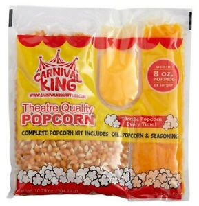 All In One Popcorn Kit 8 Oz To 10 Oz Poppers 24 Case Butter Large Butterfly