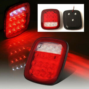 Pair 16led Tail Lights Rear Brake Lamps Stop Reverse For Jeep Wrangler Tj Cj Yj